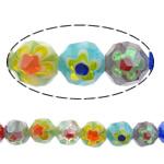 Glass Beads Chevron, Round, asnjë, ngjyra të përziera, 8mm, : 1.5mm, :14Inç, 10Fillesat/Shumë,  Shumë