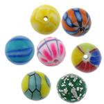 Beads polimer balta, Round, asnjë, asnjë, ngjyra të përziera, 11mm, : 1.5mm, 100PC/Qese,  Qese