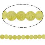 Knistern Glasperlen, Glas, rund, olivgelb, 8mm, Bohrung:ca. 2mm, Länge:ca. 30.7 ZollInch, 10SträngeStrang/Tasche, verkauft von Tasche