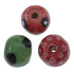 Beads bizhuteri Porcelani, Rondelle, punuar me dorë, pika-pika, ngjyra të përziera, 18x15mm, : 3mm, 100PC/Qese,  Qese