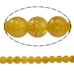 Glass Beads kërcitje, Xham, Round, asnjë, i verdhë, 10mm, : 1.5mm, : 31.4Inç, 10Fillesat/Qese,  Qese