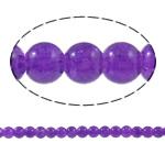 Glass Beads kërcitje, Xham, Round, asnjë, vjollcë, 6mm, : 1.5mm, : 32Inç, 10Fillesat/Qese,  Qese