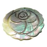 Pendants Natyrore Zi Shell, Lule, Gdhendur, asnjë, asnjë, 48x49x2.50mm, : 1.3mm, 10PC/Shumë,  Shumë