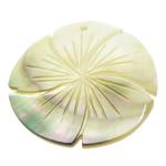 Pendants Natyrore Zi Shell, Lule, Gdhendur, asnjë, asnjë, 40x40x2.50mm, : 2mm, 10PC/Shumë,  Shumë