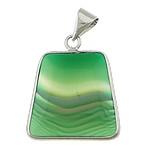 E gjelbër varëse agat, Jeshile agat, Trapez, ngjyrë platin praruar, shirit, 27x27x5.50mm, : 5x6mm, 10PC/Shumë,  Shumë