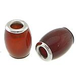 Beads Kuq Natyrore agat, Red agat, Daulle, ngjyrë platin praruar, asnjë, 10.50x15mm, : 4mm, 10PC/Shumë,  Shumë