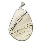Agat pendants bizhuteri, Agat Original Color, Oval Flat, ngjyrë platin praruar, asnjë, 37.50x52x7.50mm, : 4x5mm, 5PC/Shumë,  Shumë