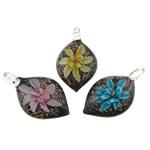 Pendants Inner Lampwork Lule, Lot, asnjë, lule e brendshme, ngjyra të përziera, 27x49x13mm, : 4.5mm, 50PC/Qese,  Qese