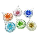 Pendants Inner Lampwork Lule, Round Flat, asnjë, lule e brendshme, ngjyra të përziera, 30x40.80x15mm, : 5.5mm, 50PC/Qese,  Qese