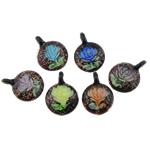 Pendants Inner Lampwork Lule, Round Flat, asnjë, lule e brendshme, ngjyra të përziera, 32x43.20x9mm, : 5mm, 50PC/Qese,  Qese