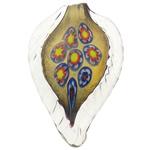 Lampwork Millefiori Fetë Pendants, Gjethe, asnjë, me fetë Millefiori, e bardhë, 43x68.50x7.80mm, : 10mm, 30PC/Qese,  Qese