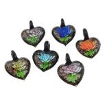 Pendants Inner Lampwork Lule, Zemër, asnjë, lule e brendshme, ngjyra të përziera, 33x41.80x17mm, : 7mm, 50PC/Qese,  Qese
