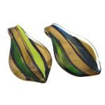 Pendants Lampwork Fashion, Lot, asnjë, pluhur ari, ngjyra të përziera, 38x69x8.20mm, : 7.2mm, 30PC/Qese,  Qese