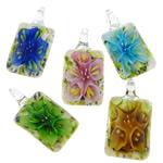 Pendants Inner Lampwork Lule, Drejtkëndësh, asnjë, lule e brendshme, ngjyra të përziera, 24x47.50x12mm, : 7.8mm, 50PC/Qese,  Qese