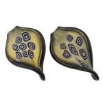 Lampwork Millefiori Fetë Pendants, Gjethe, asnjë, me fetë Millefiori, asnjë, 41.50x67x7mm, : 9mm, 30PC/Qese,  Qese