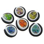 Pendants Inner Lampwork Lule, Round Flat, asnjë, lule e brendshme, ngjyra të përziera, 35.50x36x15mm, : 7mm, 30PC/Qese,  Qese