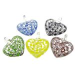 Pendants Lampwork Fashion, Zemër, asnjë, asnjë, ngjyra të përziera, 37.50x44.80x17.20mm, : 8.2mm, 30PC/Qese,  Qese