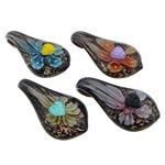 Pendants Inner Lampwork Lule, Lot, asnjë, lule e brendshme, ngjyra të përziera, 31.50x57.50x15mm, : 9mm, 50PC/Qese,  Qese