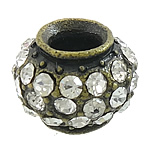 Beads bizhuteri Diamant i rremë, Alloy zink, Rondelle, Ngjyra antike bronz i praruar, me diamant i rremë, asnjë, , nikel çojë \x26amp; kadmium falas, 15x15x11mm, : 5.5mm, 50PC/Qese,  Qese
