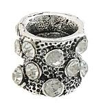 Beads bizhuteri Diamant i rremë, Alloy zink, Kolonë, Ngjyra antike argjendi praruar, me diamant i rremë, asnjë, , nikel çojë \x26amp; kadmium falas, 12x12x10mm, : 6mm, 50PC/Qese,  Qese
