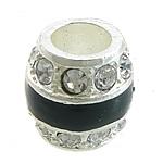 Beads bizhuteri Diamant i rremë, Alloy zink, Daulle, Ngjyra argjend praruar, me diamant i rremë, e zezë, , nikel çojë \x26amp; kadmium falas, 12x12mm, : 6.5mm, 50PC/Qese,  Qese