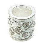 Alloy zink, Kolonë, Ngjyra argjend praruar, me diamant i rremë, asnjë, , nikel çojë \x26amp; kadmium falas, 10x10x11mm, : 6mm, 100PC/Qese,  Qese