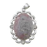 Pendants Indian agat, Oval Flat, ngjyrë platin praruar, me diamant i rremë, 26.50x47x10mm, : 4x5mm, 20PC/Qese,  Qese
