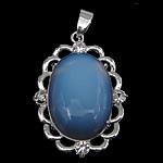 Deti Pendants opal, Deti Opal, with Tunxh, Oval Flat, ngjyrë platin praruar, me diamant i rremë, asnjë, 26.50x47x10mm, : 4x5mm, 20PC/Qese,  Qese
