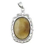 Agat pendants bizhuteri, Agat Kafe, with Tunxh, Oval Flat, ngjyrë platin praruar, asnjë, 25x38x8mm, : 3x4mm, 20PC/Qese,  Qese