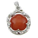 Pendants Red agat, with Tunxh, Lule, ngjyrë platin praruar, me diamant i rremë, 23.50x23.50x20mm, : 4x5mm, 20PC/Qese,  Qese