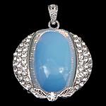 Deti Pendants opal, Deti Opal, with Tunxh, Oval Flat, ngjyrë platin praruar, me diamant i rremë, asnjë, 37.50x35x8mm, : 4x5mm, 10PC/Qese,  Qese