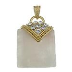 Pendants Natyrore kuarc, Rose kuarc, with Tunxh, Katror, ngjyrë ari praruar, me diamant i rremë, 30x42x12mm, : 7x4.5mm, 20PC/Shumë,  Shumë