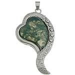 Moss Pendants agat, Moss Agate, Zemër, ngjyrë platin praruar, me diamant i rremë, 28x53x8mm, : 5x4mm, 10PC/Shumë,  Shumë