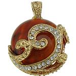 Pendants Red agat, Round Flat, ngjyrë ari praruar, me diamant i rremë, 28x32x11.50mm, : 7x4.5mm, 10PC/Shumë,  Shumë