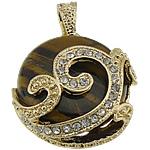 Syri Tiger Pendants, Round Flat, ngjyrë ari praruar, me diamant i rremë, 28x32x11.50mm, : 7x4.5mm, 10PC/Shumë,  Shumë