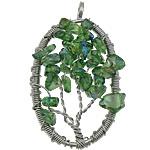 Crystal Pendants, Kristal, Oval Flat, ngjyrë platin praruar, asnjë, Gjelbër fier, 32x55x10mm, : 5mm, 20PC/Shumë,  Shumë