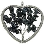 Pendants gur i çmuar bizhuteri, Snowflake Obsidian, Zemra Flat, ngjyrë platin praruar, asnjë, 48x51x6mm, : 5mm, 20PC/Shumë,  Shumë