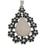 Pendants Natyrore kuarc, Rose kuarc, with Tunxh, Lot, ngjyrë platin praruar, smalt & me diamant i rremë, 34x51x10mm, : 8x5mm, 20PC/Shumë,  Shumë