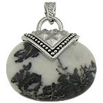 Pendants gur i çmuar bizhuteri, Jasper meksikan, with Tunxh, Oval Flat, ngjyrë platin praruar, nxihem, 39x40x12mm, : 8x5mm, 20PC/Shumë,  Shumë