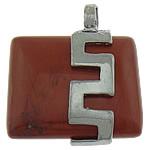 Pendants gur i çmuar bizhuteri, Red Jasper, with Tunxh, Drejtkëndësh, ngjyrë platin praruar, asnjë, 26x32x10.50mm, : 6mm, 20PC/Shumë,  Shumë
