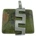 Pendants gur i çmuar bizhuteri, Unakite, with Tunxh, Drejtkëndësh, ngjyrë platin praruar, asnjë, 26x32x10.50mm, : 6mm, 20PC/Shumë,  Shumë