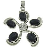 Cats Pendants Syri, Cats Eye, Lule, ngjyrë platin praruar, me diamant i rremë, 33x39x5mm, : 5x4mm, 20PC/Shumë,  Shumë