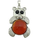 Pendants Red agat, Bear, ngjyrë platin praruar, me diamant i rremë, 31x50x9mm, : 6x4mm, 10PC/Shumë,  Shumë