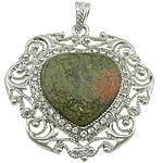 Pendants gur i çmuar bizhuteri, Unakite, with Tunxh, Zemër, ngjyrë platin praruar, me diamant i rremë, 51x52x8mm, : 7x5mm, 10PC/Shumë,  Shumë
