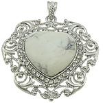 Varëse Bruz, Bruz Natyrore, Zemër, ngjyrë platin praruar, me diamant i rremë, e bardhë, 51x52x8mm, : 7x5mm, 10PC/Shumë,  Shumë