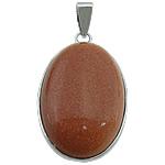 Pendants Goldstone, Oval Flat, ngjyrë platin praruar, asnjë, 22x36x8mm, : 5x4mm, 20PC/Shumë,  Shumë