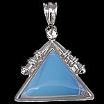 Deti Pendants opal, Deti Opal, with Tunxh, Trekëndësh, ngjyrë platin praruar, me diamant i rremë, asnjë, 33x38x7mm, : 9x7mm, 10PC/Shumë,  Shumë