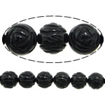 Beads Natyrore Zi agat, Black agat, Lule, Gdhendur, asnjë, 10mm, : 1.2mm, :15Inç, 38PC/Fije floku,  15Inç,