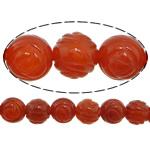 Beads Kuq Natyrore agat, Red agat, Lule, Gdhendur, asnjë, 14mm, : 1mm, :15Inç, 28PC/Fije floku,  15Inç,