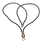 Cord gjerdan Moda, Cord najlon, with Diamant i rremë & Alloy zink, e zezë, 11x11mm, 13x16mm, 3mm, :15Inç, 30Fillesat/Shumë,  Shumë